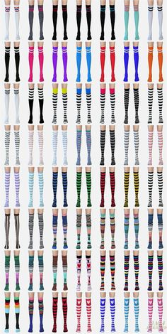 SIMS4 marigold: over knee socks collection_stripe version_unisex_오버 니 삭스 줄무늬 버전_남녀 양말