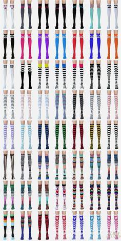 SIMS4 marigold: over knee socks collection_stripe version_unisex_오버 니 삭스 줄무늬 버전_남녀 양말