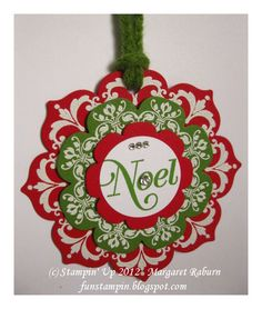 Stampin' Up! Daydream Medallions stamp set and Floral Frames Framelits:  Christmas tag