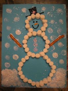 Marshmallow snowman! Fun craft project to do for winter.