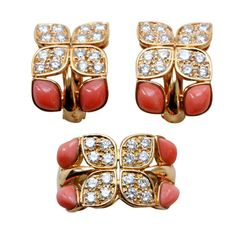 Pere & Fils for Christian Dior Diamond and Coral Gold Clover Suite | From a unique collection of vintage fashion rings at http://www.1stdibs.com/jewelry/rings/fashion-rings/