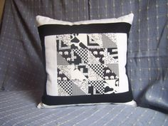 Black & White Cushion Cover Patchwork by BUBobbinsUp on Etsy