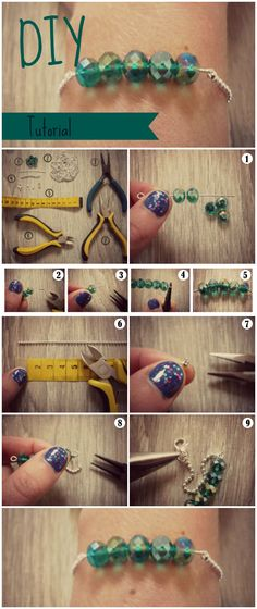 Ball Chain Bracelet Tutorial - Beads & Basics - Facet Glassbeads mintgreen turquoise armcandy armparty party outfit