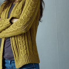 ♥ Ravelry: MelleChou's Moutarde - FREE pattern: Aidez by Cirilia Rose - mustard cabled knit cardigan