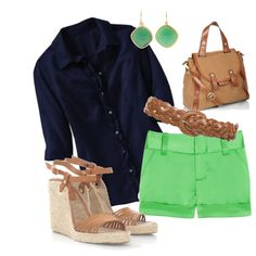 Hmm, fun color combo.  Try navy skirt with white T and some green accessories.