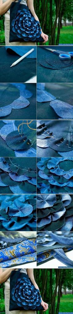 DIY Denim Flower Bag DIY Projects - I love this idea as an embellishment - doesn't have to be denim.