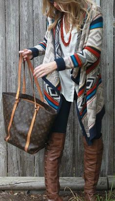 "Like the idea of a ""Aztec"" print cardigan for fall and winter."