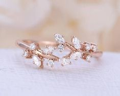 Rose gold engagement ring Diamond Cluster ring Unique engagement ring leaf wedding Bridal Jewelry Anniversary Valentine's Day Gift for women