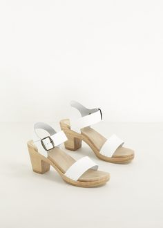 Totokaelo - No. 6 White / Natural Two Strap High Heel