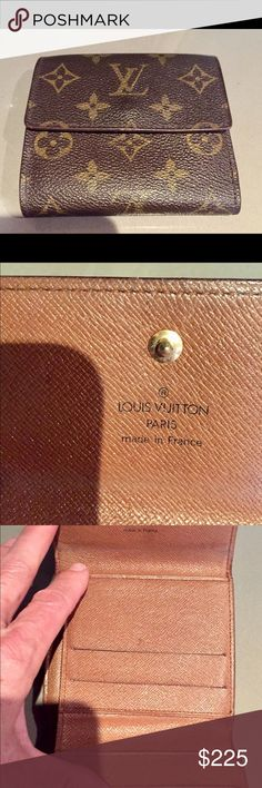 LOUIS VUITTON ANAIS TRI-FOLD WALLET WELL LOVED AND USED LV WALLET. EXTERIOR IS IN EXCELLENT CONDITION. INTERIOR BILLFOLD SECTION - STICKY RESIDUE HAS BEEN REMOVED. ALSO TWO  CREDIT CARD SLOTS HAD  STICKY RESIDUE REMOVED - PROFESSIONALLY.  DOES NOT  TAKE AWAY FROM THE WALLET.   GOOD CONDITION. LOUIS VUITTON Bags Wallets