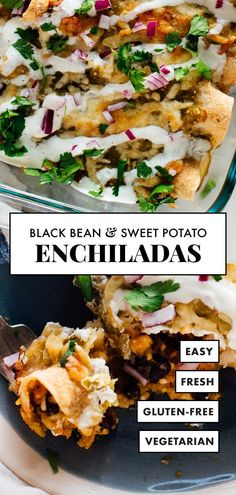 AMAZING black bean and sweet potato enchiladas! Theyre stuffed with creamy hearty sweet potato plus black beans feta cheese and spicessmothered in salsa verde. These enchiladas are a delicious hearty vegetarian entrée. Tasty Vegetarian, Vegetarian Entrees, Vegetarian Enchiladas, Vegetarian Thanksgiving Main Dish, Vegan Meals, Veggie Enchilada Casserole, Vegetarian Sweet Potato Recipes, Amazing Vegetarian Recipes, Veggie Enchiladas