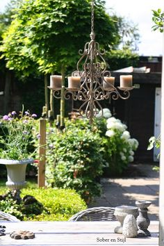 hanging a wrought iron chandelier from a tree gives an elegant feel - love how the planting pops against the dark fence
