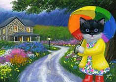 Tuxedo kitten cat rainbow umbrella house flowers original aceo painting art #Realism Artist Bridget Voth Ebay ID star-filled-sky