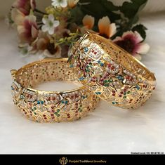 Our rebeled good jewelry preoccupation is constant, and such blush-toned edit is ideal for supplying your desired clothes which typically cute pink streak. Bridal Jewellery Inspiration, Gold Jewellery Design, Bridal Jewelry, Gold Jewelry, Gold Bangles, Bangle Ceremony, Punjabi Traditional Jewellery, Hyderabadi Jewelry, Long Pearl Necklaces