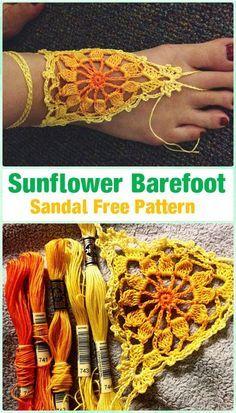 Crochet Sunflowr Barefoot Sandals Free Pattern - Crochet Women Barefoot Sandal A. Crochet Sandals, Crochet Shoes, Crochet Slippers, Crochet Clothes, Crochet Diy, Crochet Woman, Crochet Crafts, Barefoot Sandals Pattern, Diy Barefoot Sandals