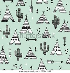 Seamless teepee tent arrow and cactus botanical indian summer illustration background western pattern in vector