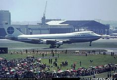 Pan Am's 'Clipper Kit Carson' makes a historic First daytime touch-down on Rwy 16 at Sydney's new International Airport. Staff arranged stands so the public could see the First Boeing 747 arrival in Australia on 07Oct1970