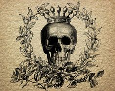 Skull Crown Royalty Laurel Wreath Roses Victorian Antique Digital Image Download Transfer To Pillows Tote Bags Tea Towels Burlap No. 0037
