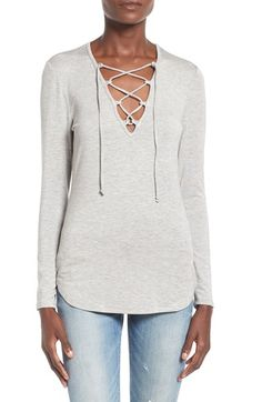 Leith Lace-Up Long Sleeve Top