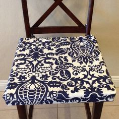 Indigo navy blue on white seat cushion cover by BrittaLeighDesigns.  Love my newest addition to my seat cushion cover collection!  Update your home for the new year with a simple update such as new seat cushion covers!