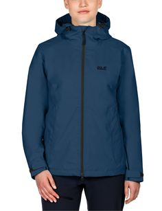 Jack Wolfskin Women's Chilly Morning Jacket, Dark Sky, XX-Large. Winter hiking jacket. Waterproof, windproof, breathable. Very robust. Warmly insulated.
