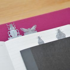Winged Insects bookmarks  £6.95  This miniature set of stainless steel page markers includes four common winged insects designed to a 1:1 scale.  www.another-studio.com/shop/insect-bookmarks