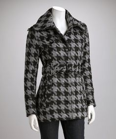 Take a look at this Black & Gray Belted Houndstooth Coat by Yoki on #zulily today!