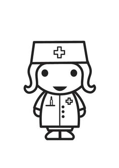 Coloring Page Nurse Free Coloring Sheets, Animal Coloring Pages, School Coloring Pages, Coloring Pages For Kids, Drawing For Kids, Painting For Kids, Doctor Theme Preschool, Nurse Drawing, Nurse Symbol