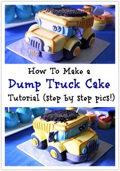 How to Carve a 3-D Dump Truck Cake (or Smash Cake) | http://rosebakes.com/how-to-carve-3-d-dump-truck-cake-or-smash-cake-tutorial/