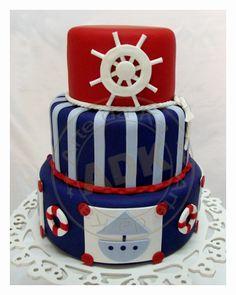 Cake marinero  en azúl (marino) y rojo.