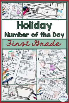First-grade math students need daily number sense and place value practice. These printable, easy-to-use first grade Number of the Day activities are a geat way to practice this important skill. Your kids will love them and will ask for more! Plus, they are great for morning work and homework! This is a fun December theme unit.  Teacher friendly-No-prep! December fun!  #number sense #NumberofTheDay