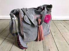 BigBag Midi Fringe Valour Leather + Feathers + Heart Grey + Warm Pink