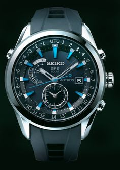 Seiko Astron, GPS Solar Watch, With silicon strap and blue accents, SAST009   www.SeikoUSA.com