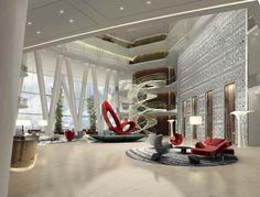 The heart of the Four Seasons Hotel Guangzhou is expressed in The Sky Lobby. This now becomes the major event of the guest's journey. To traverse the open lobby is to come close to the ethereal. Rendering designed by HBA/Hirsch Bedner Associates.