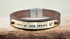 Men Bracelet Leather Bracelet Personalized Men by PukkaMen on Etsy