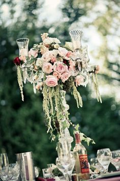 Tall rose centerpiece with trailing amaranthus | Photo by Wild Whim Photography #rose #centerpiece #blush #amaranthus
