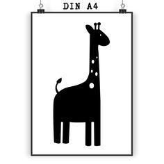 Poster DIN A4 Giraffe aus Papier 160 Gramm  weiß - Das Original von Mr. & Mrs. Panda.  Jedes wunderschöne Motiv auf unseren Postern aus dem Hause Mr. & Mrs. Panda wird mit viel Liebe von Mrs. Panda handgezeichnet und entworfen.  Unsere Poster werden mit sehr hochwertigen Tinten gedruckt und sind 40 Jahre UV-Lichtbeständig und auch für Kinderzimmer absolut unbedenklich. Dein Poster wird sicher verpackt per Post geliefert.    Über unser Motiv Giraffe  Rekord: Giraffen sind die höchsten…