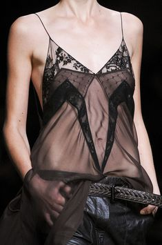 Transparency, Pattern, Shape & Symmetry - mixed sheer and lace panel vest; fashion details // Haider Ackermann                                                                                                                                                                                 More