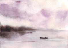 Original watercolor art lake painting with boat lovers by HelgaMcL, $22.00