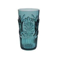 Le Cadeaux Teal Fleur Ice Tea Glass