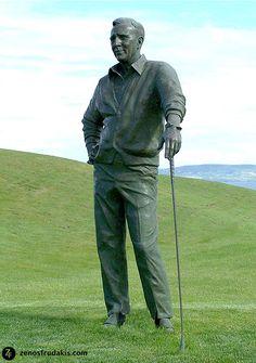 """SPORTS SCULPTURE: """"Arnold Palmer' sculpture by Zenos Frudakis. Tralee Golf Club, Ireland.  Sport: Golf"""