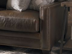 Custom Leather Ladson Great Room Sofa by Bassett Furniture