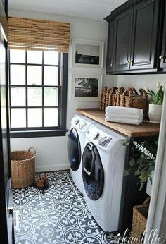 This would be awesome too with teal cabinets Storage Shelves Ideas Laundry room decor Small laundry room organization Laundry closet ideas Laundry room storage Stackable washer dryer laundry room Small laundry room makeover A Budget Sink Load Clothes Farmhouse Laundry Room, Laundry In Bathroom, Basement Laundry, Bath Laundry Combo, Vintage Laundry Rooms, Laundry Decor, Master Bathroom, Mudrooms With Laundry, Laundry Room Small