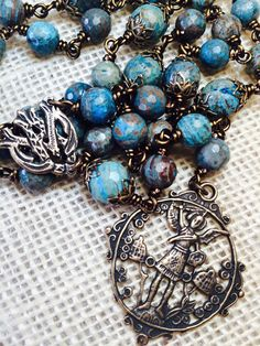 St. Michael Chaplet with Turquoise Agate by Et Corde Rosaries & Jewelry