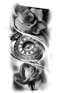 pattern tattoos meaning Time Clock Tattoo, Clock And Rose Tattoo, Rose Clock, Tattoo Sketches, Tattoo Drawings, Body Art Tattoos, Clock Tattoo Design, Tattoo Designs, Trendy Tattoos