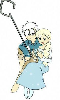 Shizuka and Nobita cosplay Elsa and Jack by doraemonbasil.deviantart.com on…