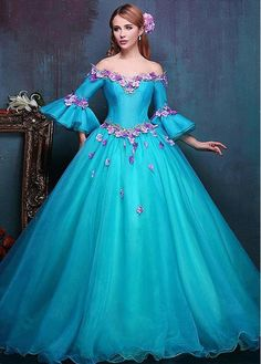546b0954f1 Attractive Organza Off-the-shoulder Neckline Ball Gown Quinceanera Dresses  With Handmade Flowers   Embroidery