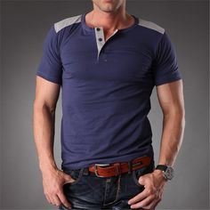 summer outfits men Azel Stretchy Plain Blank Colors T Shirt Man High Quality 2016 Mens Tee Buttons Tight Fit Tops Tees Summer Mens Clothes MT-1356 * This is an AliExpress affiliate pin.  Detailed information can be found on AliExpress website by clicking on the VISIT button