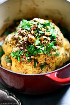 Whole Roasted Cauliflower with Hazelnut, Orange & Saffron via YummyBeet.com