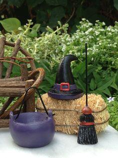 Miniature Dollhouse FAIRY GARDEN ~ HALLOWEEN Resin Witch Hat Broom Cauldron Set